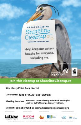 Shoreline Cleanup Event Outreach Poster GOG 2016