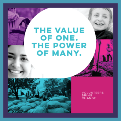 """National Volunteer Week 2021 image """"The Value of One, The Power of Many"""""""